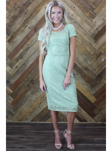 """April"" Modest Dress in Sage Green Lace"