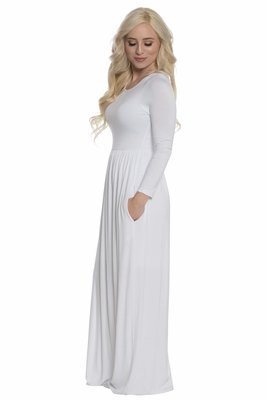 """Aria"" LDS Temple Dress - White"