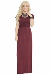 Athena Modest Maxi Dress or Bridesmaid Dress in Burgundy or Maroon