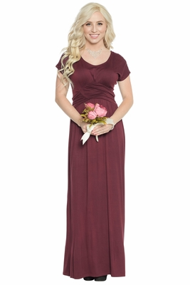 Athena Modest Maxi Dress or Bridesmaid Dress in Maroon or Burgundy