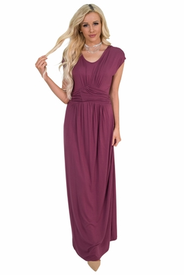 Athena Modest Maxi Dress or Bridesmaid Dress in Dark Rose / Maroon