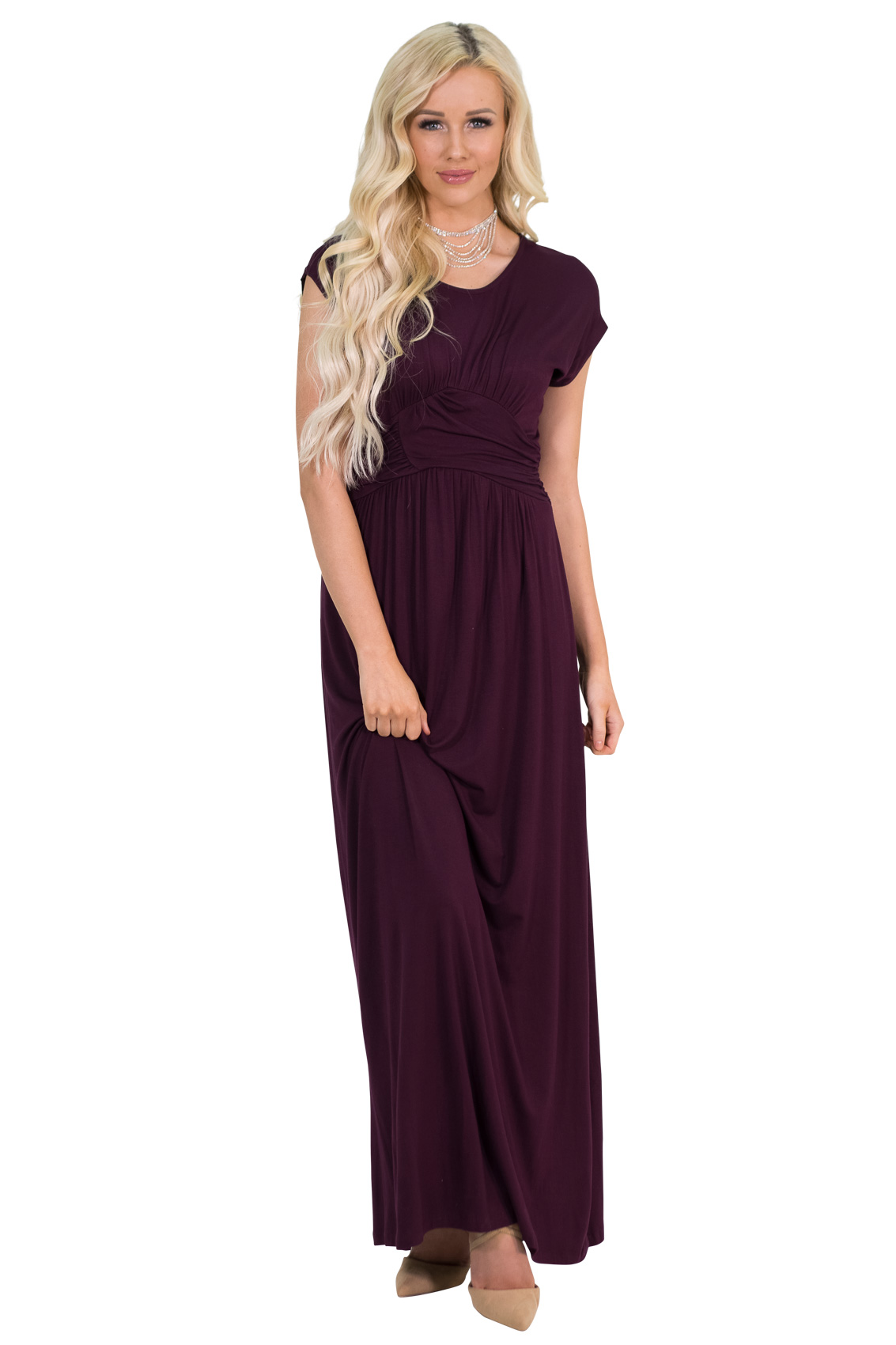 Athena modest maxi dress wruched empire waist in deep plum purple athena modest maxi bridesmaid dress in deep plum purple burgundy plum ombrellifo Image collections