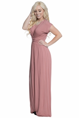 Athena Modest Maxi Dress or Bridesmaid Dress - Dusty Rose Pink / Mauve
