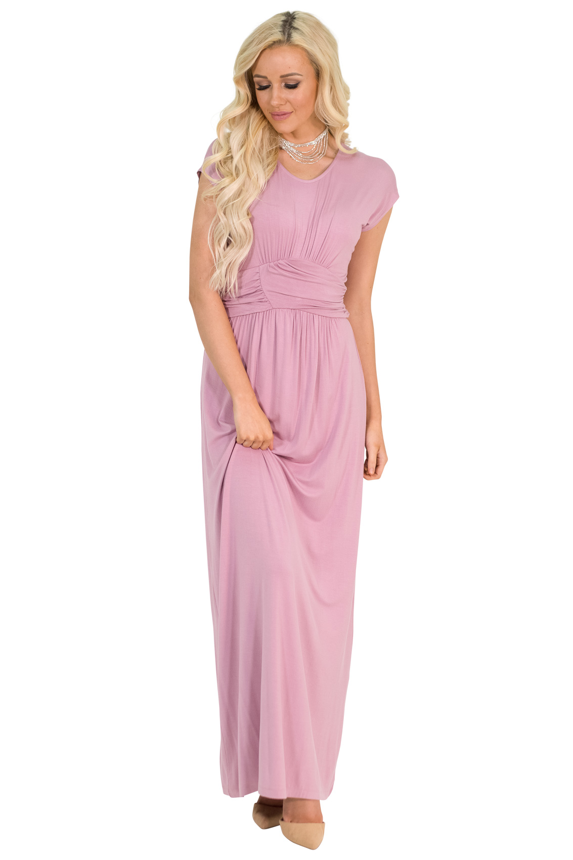 2b65758d435 Athena Modest Maxi Dress or Bridesmaid Dress - Mauve   Dusty Rose Pink   RESTOCKED