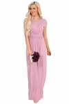 Athena Modest Bridesmaid Dress in Mauve / Dusty Rose Pink | Long Floor-Length