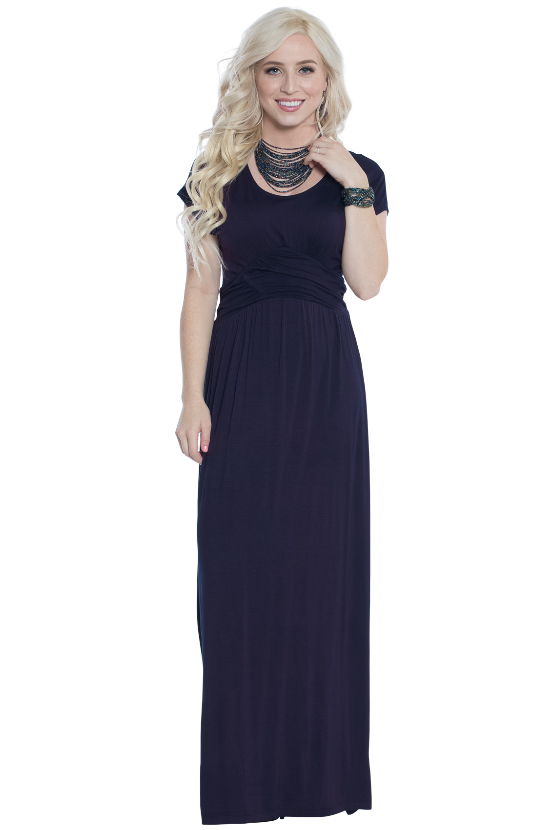 Athena modest maxi dress w ruched empire waist in navy blue for Navy blue maxi dress for wedding