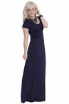 Athena Modest Maxi Dress or Bridesmaid Dress in Navy Blue