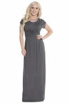 Athena Modest Maxi Dress or Bridesmaid Dress in Pewter Grey