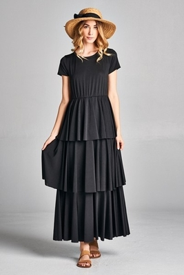 Ava Long Modest Maxi Dress with Sleeves, Tiered Ruffles in Black