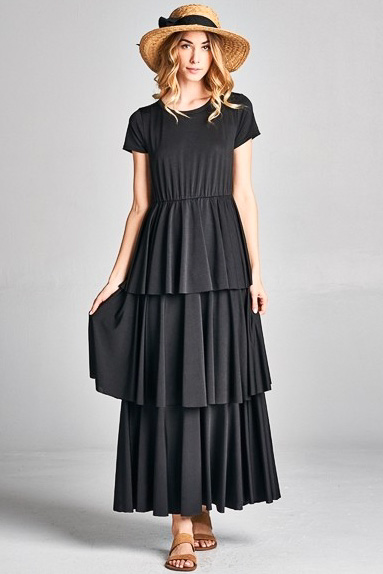 Ava Long Semi Formal Modest Bridesmaid Dress With Tiered Ruffles In