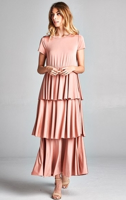 Ava Long Modest Semi-Formal or Bridesmaid Dress with Tiered Ruffles in Blush Pink