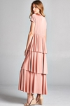 Ava Long Modest Maxi Dress or Bridesmaid Dress in Blush Pink