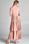 Ava Long Modest Maxi Dress with Sleeves in Blush Pink, Modest Bridesmaid Dress