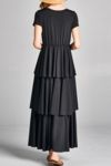 Ava Long Modest Christmas Maxi Dress with Sleeves, Tiered Ruffles in Black