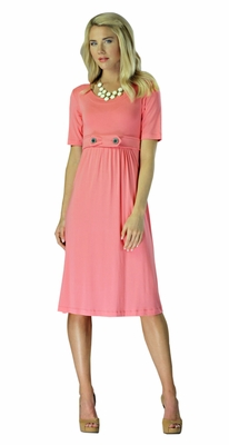 """""""Bailey"""" Modest Dress in Coral"""