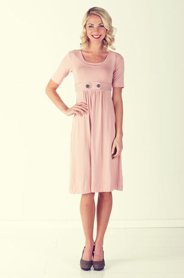 """Bailey"" Modest Dress in Pale Pink"