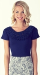 Beaded Modest Top in Navy