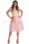 """""""Bella"""" Lace & Tulle Modest Prom or Bridesmaid Dress in Ballet Slipper Pink"""