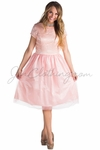 Bella Tulle Modest Homecoming or Bridesmaid Dress - Pink Champagne
