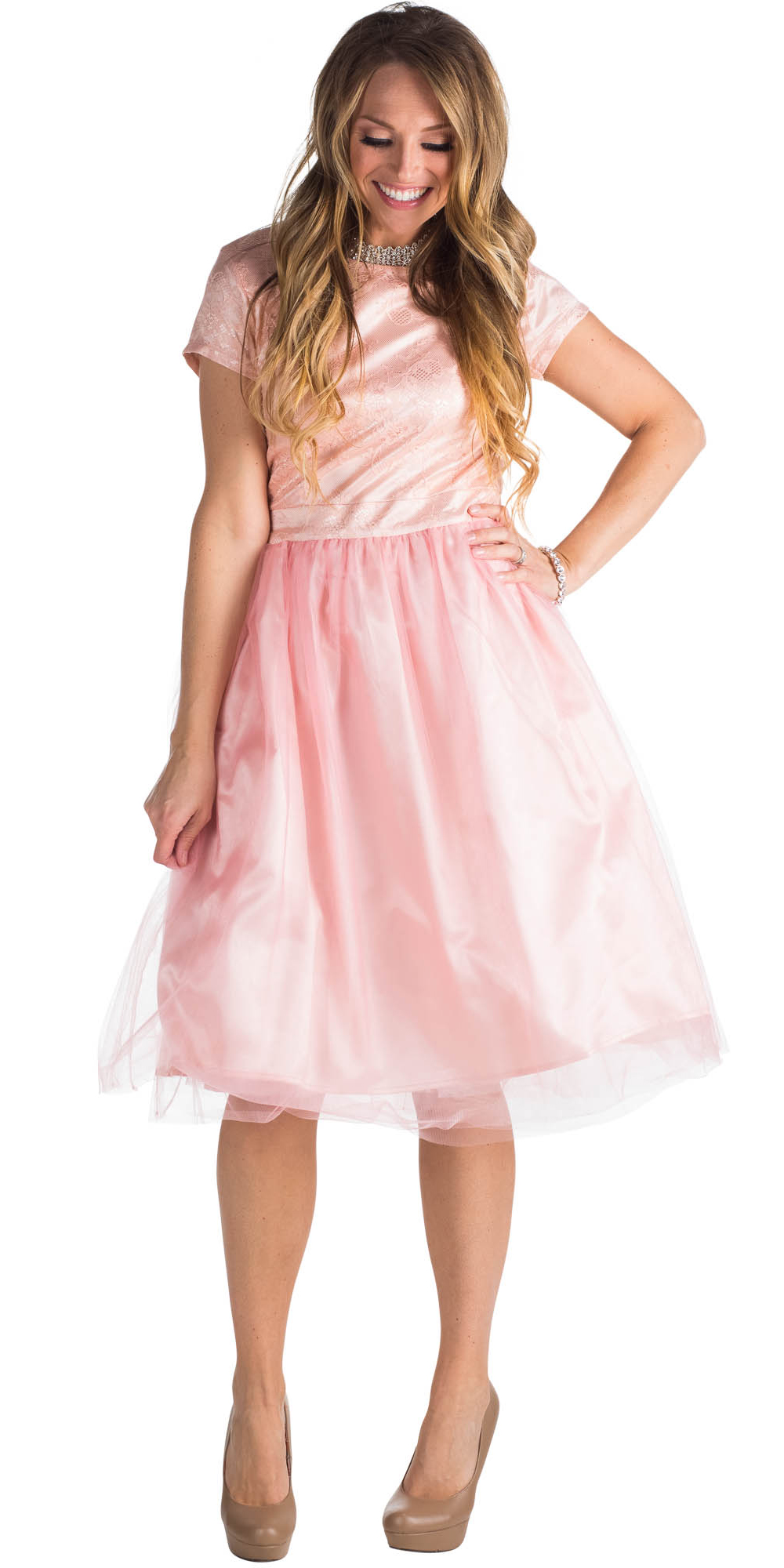Jenclothings bella semi formal modest dress in pink bella tulle modest prom bridesmaid dress blush pink pink champagne ombrellifo Images