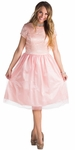 Bella Tulle Modest Prom, Bridesmaid Dress - Blush Pink, Pink Champagne