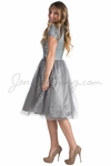 """""""Bella"""" Lace & Tulle Modest Prom or Bridesmaid Dress in Silver Grey"""