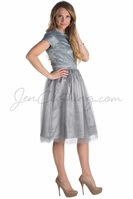 Bella Tulle Modest Homecoming or Bridesmaid Dress - Silver Grey
