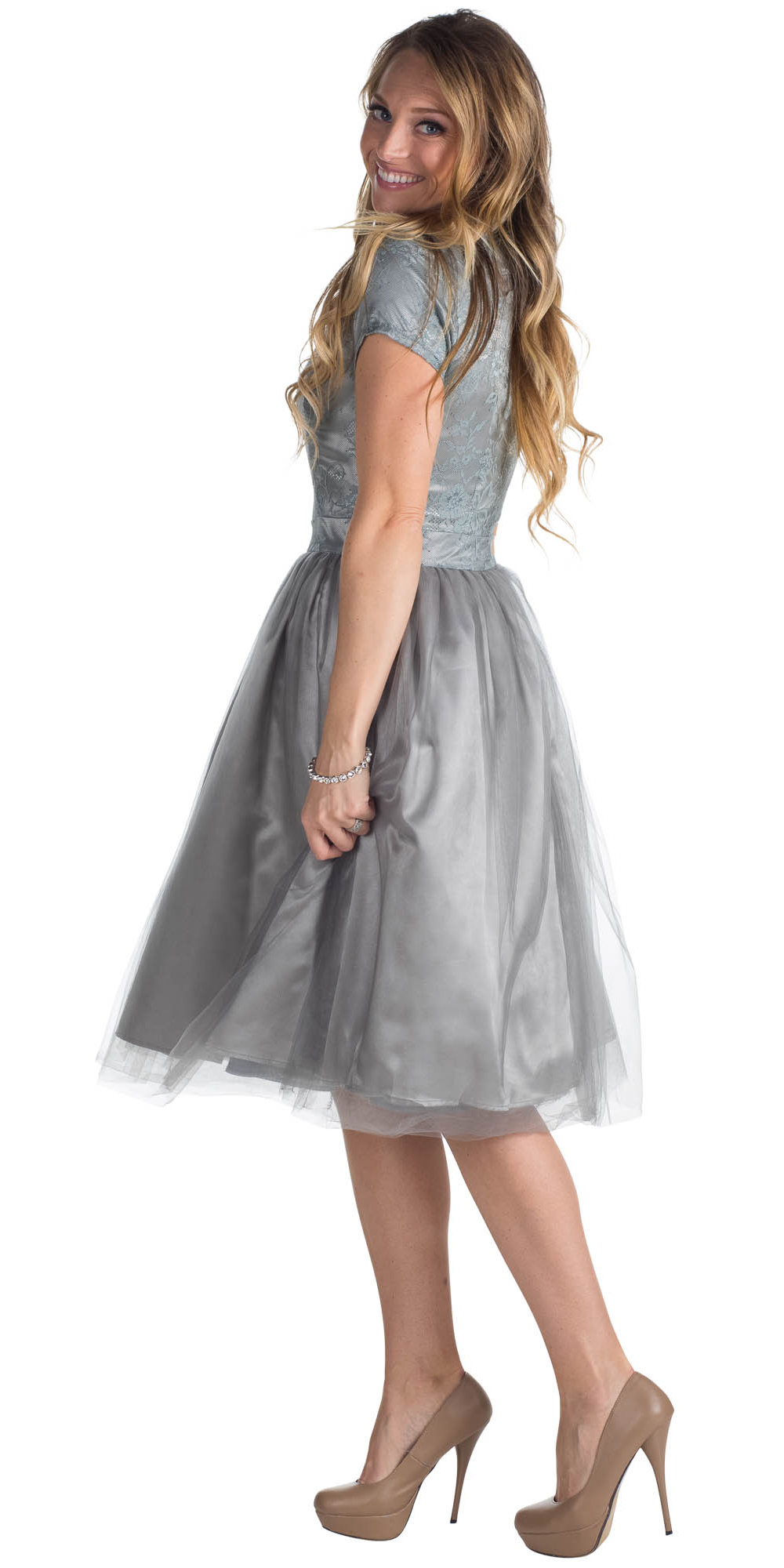 Jenclothings bella semi formal modest dress in sharkskin grey bella tulle modest prom or bridesmaid dress silver grey ombrellifo Images
