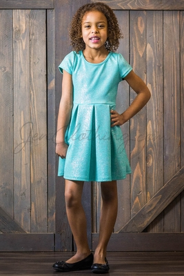 """Belle"" Modest Girls' Dress in Mint Sparkle"
