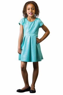 """Belle"" Modest Girls Dress in Mint Sparkle (Girls Sizes 6-12) *Final Sale*"