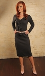 """""""Beverly"""" Long-Sleeve Sweater Dress in Oxford Gray"""