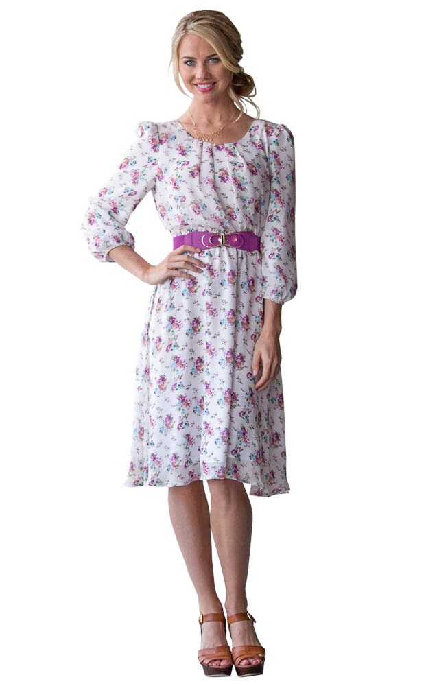 Purple Floral Dress with Sleeves