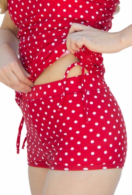 """Boyshort"" Modest Tankini Bottoms in Red Polka Dot *Final Sale*"