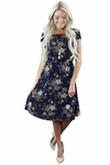 Cassie Modest Dress in Navy Floral Print