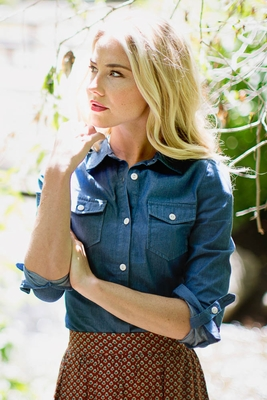 Chambray Button-up Top in Dark Denim