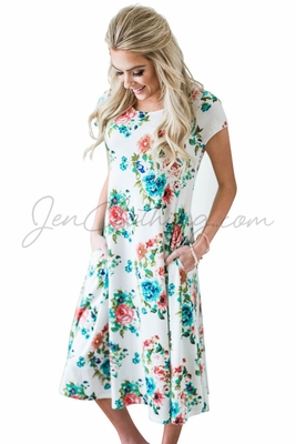 """Charlotte"" Modest Swing Dress in White w/Teal Floral Print"