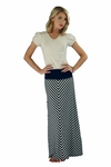 """Chevron Maxi"" Modest Skirt in Navy/Cream Stripes"