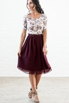 Chiffon Modest Skirt in Burgundy