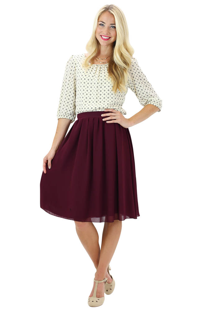Modest Skirts: Chiffon A-Line Skirt in Burgundy