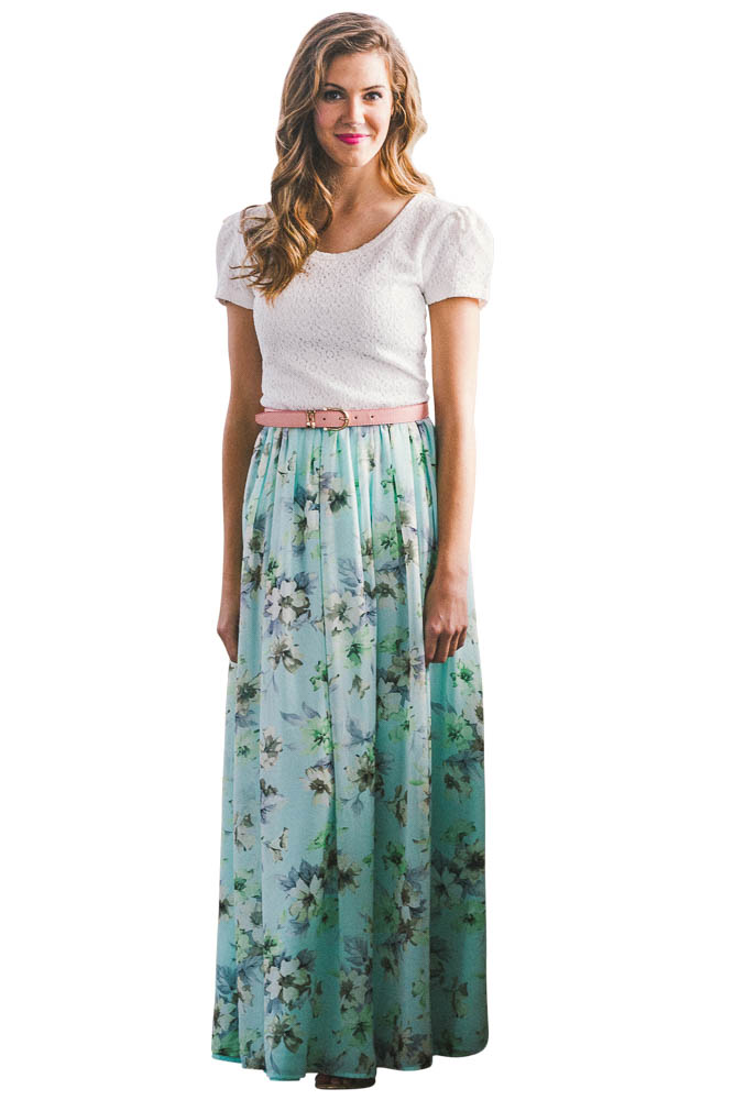 41e00a5c35 Chiffon Modest Maxi Skirt in Mint w/Floral Print ...