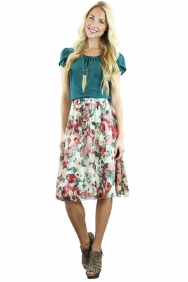 Chiffon Modest Skirt in Cream & Teal Floral Print
