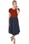 Chiffon Modest Skirt in Navy Blue w/Polka Dots