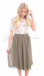 Chiffon Modest Skirt in Olive