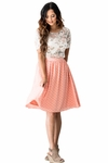 Chiffon Modest Skirt in Peachy Pink w/Polka Dots