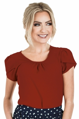 Chiffon Modest Top in Deep Red