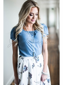 Chiffon Modest Top in Denim Blue