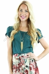 Chiffon Modest Top in Teal