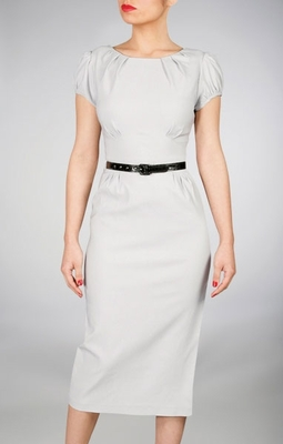 "Classic ""Ashley"" Modest Dresses in Dove Gray"