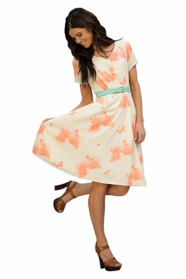 Cora Modest Dress in Peach/Cream Floral Print