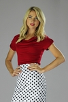 """""""Cowl Neck"""" Modest Top in Poppy Red"""